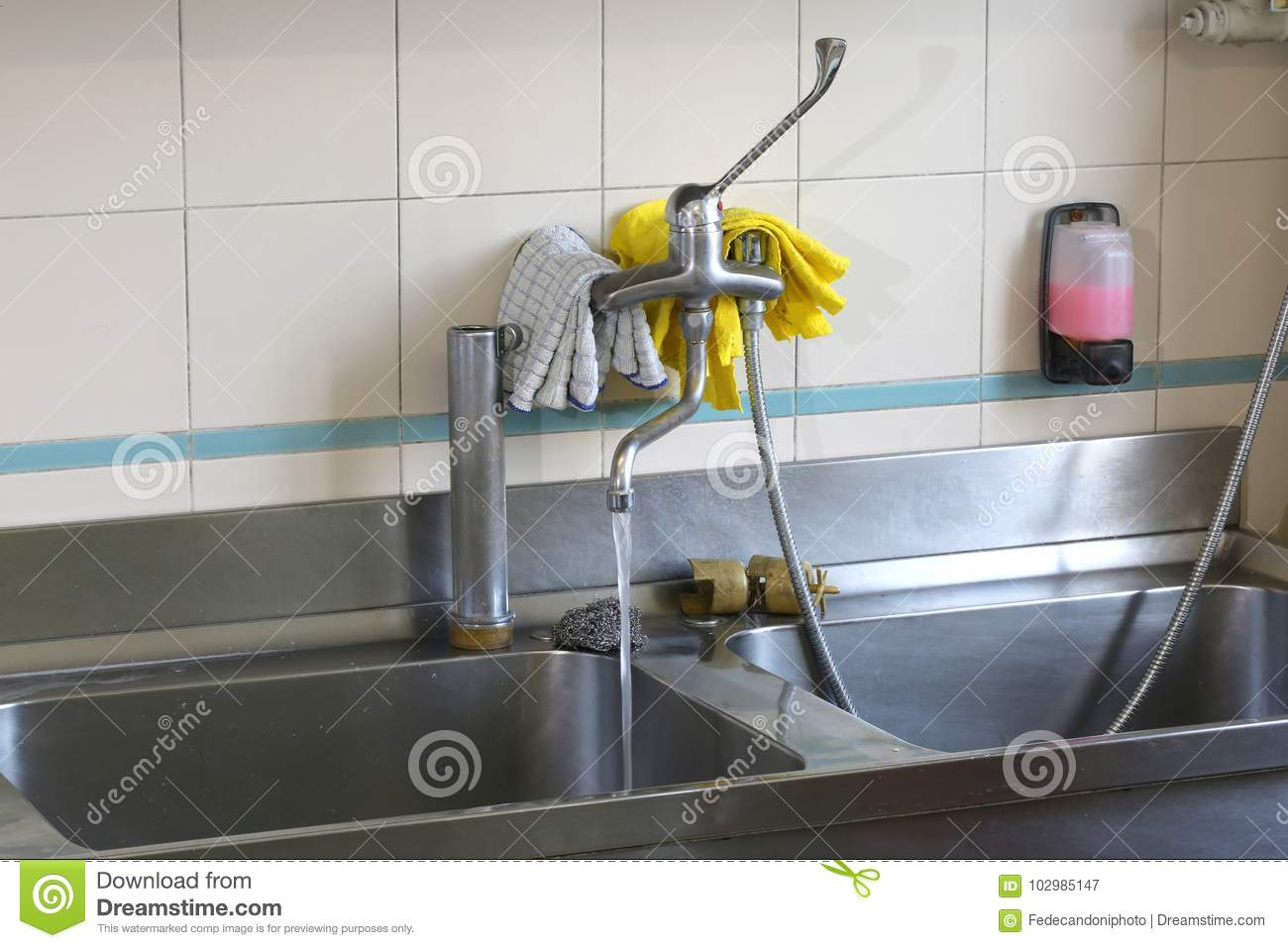 Large Stainless Steel Sink In An Industrial Kitchen Stock ...