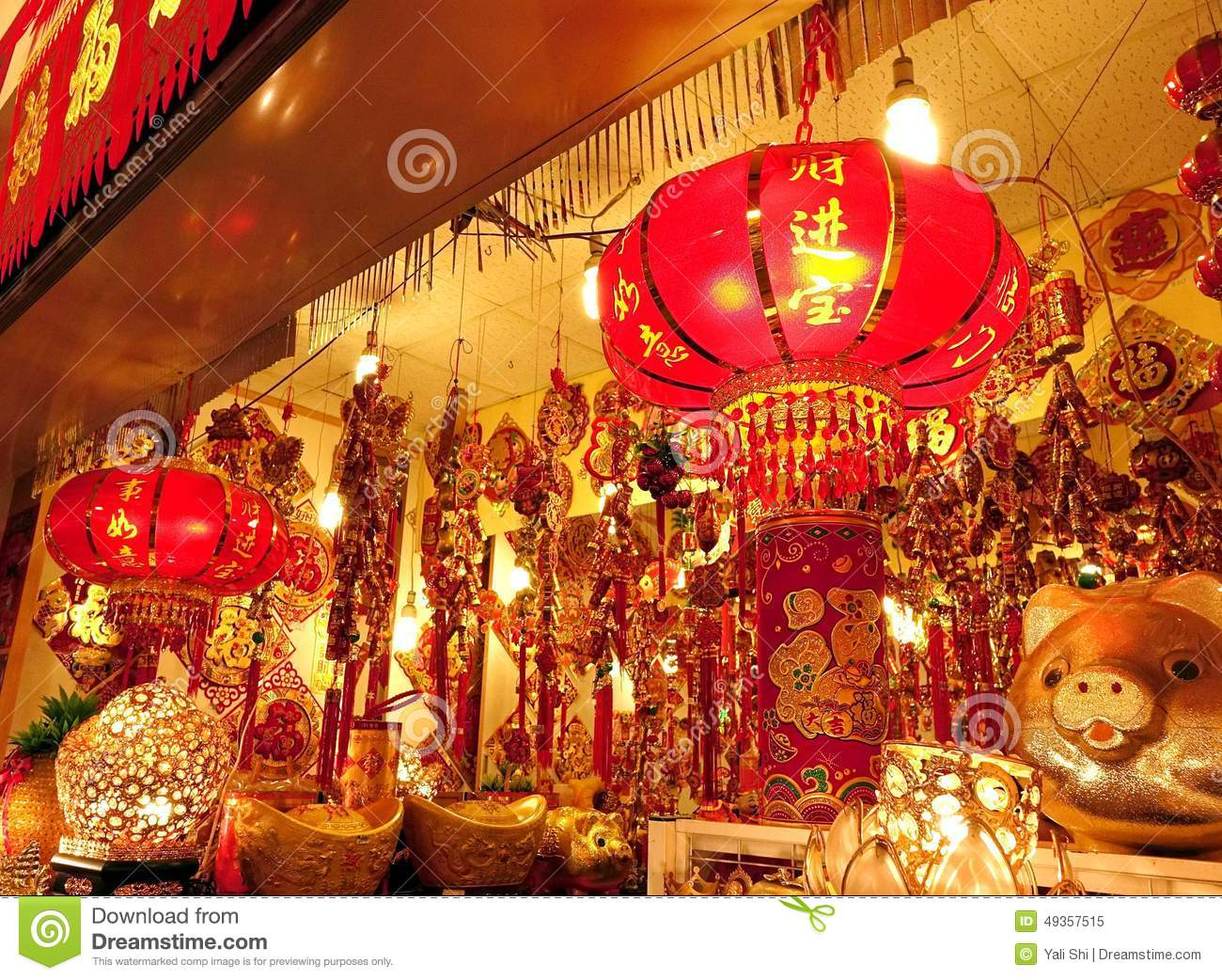 Large Store Sells Chinese New Year Decorations Editorial ...