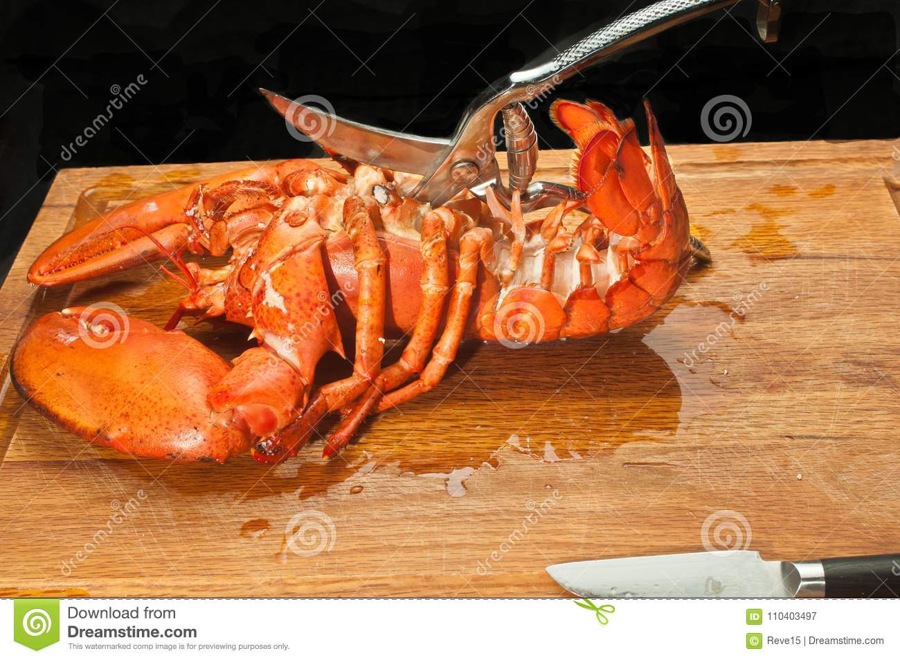 Large Streamed Lobster Cut Shell Of Thoracic Area With Kitchen