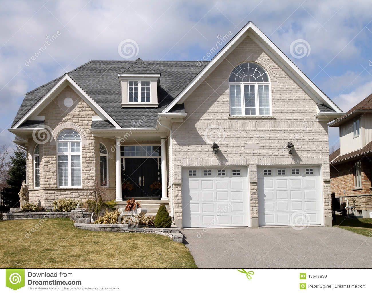 Large suburban house stock photo image 13647830 for House with big garage