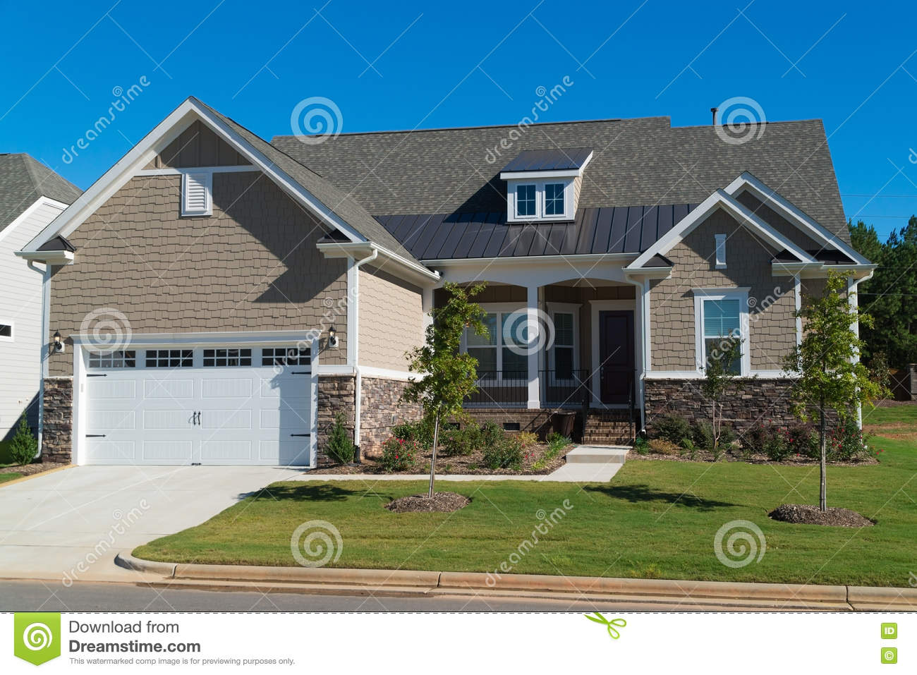 Newly landscaped luxury home royalty free stock photo for Free luxury home images