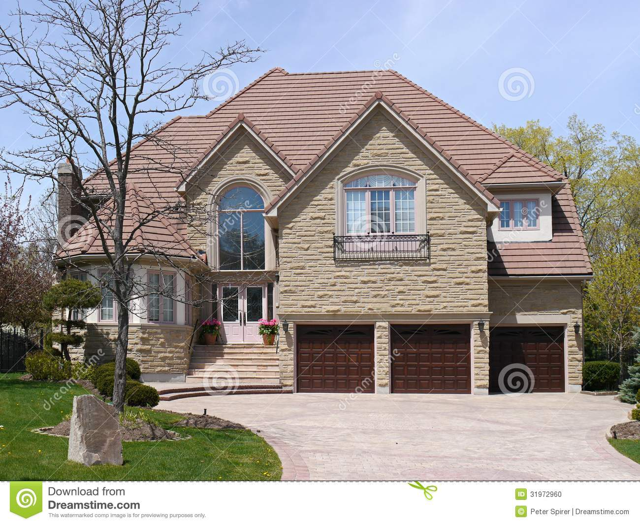 Large suburban house stock photo image 31972960 for 3 car garage homes