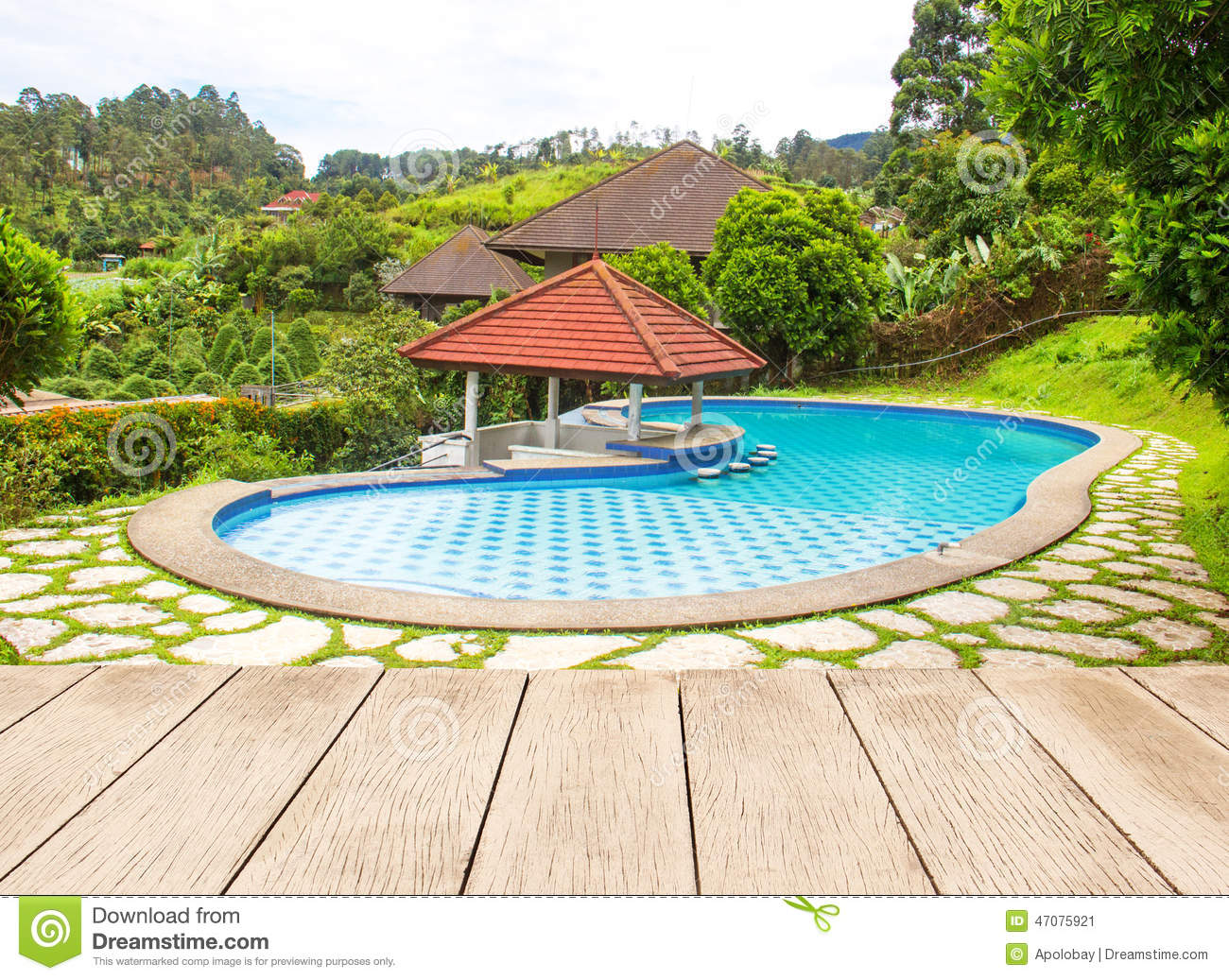 Large swimming pool in the garden stock photo image for Large garden swimming pools