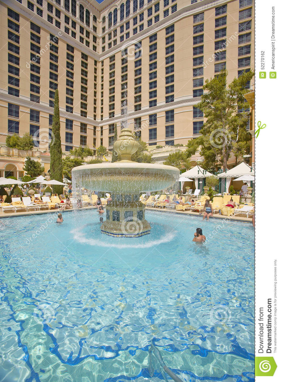 Large swimming pool with swimmers at bellagio casino in las vegas nv editorial photography - Las vegas swimming pools ...