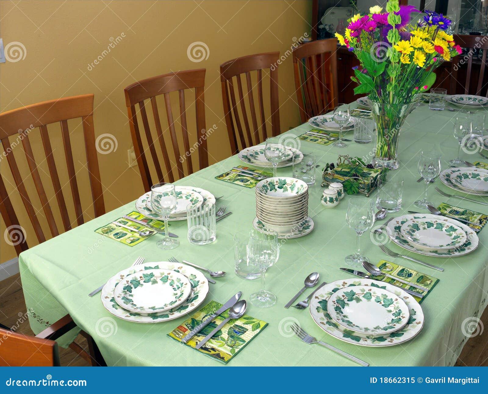 Large Table Set For Fancy Dinner