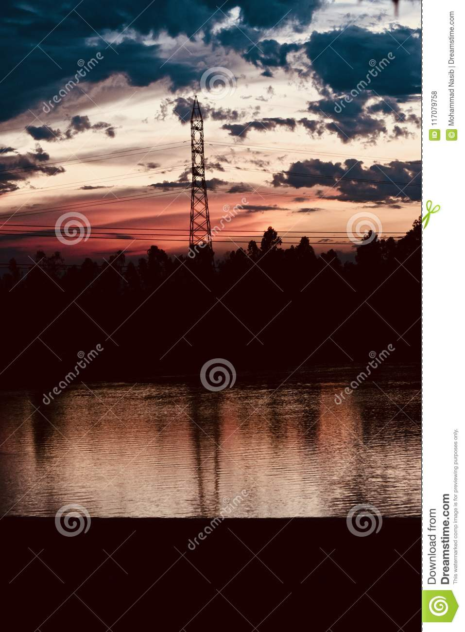 Download A Metallic Electric Tower With Cables Isolated In The Evening Unique Photograph Stock Photo - Image of area, concept: 117079758