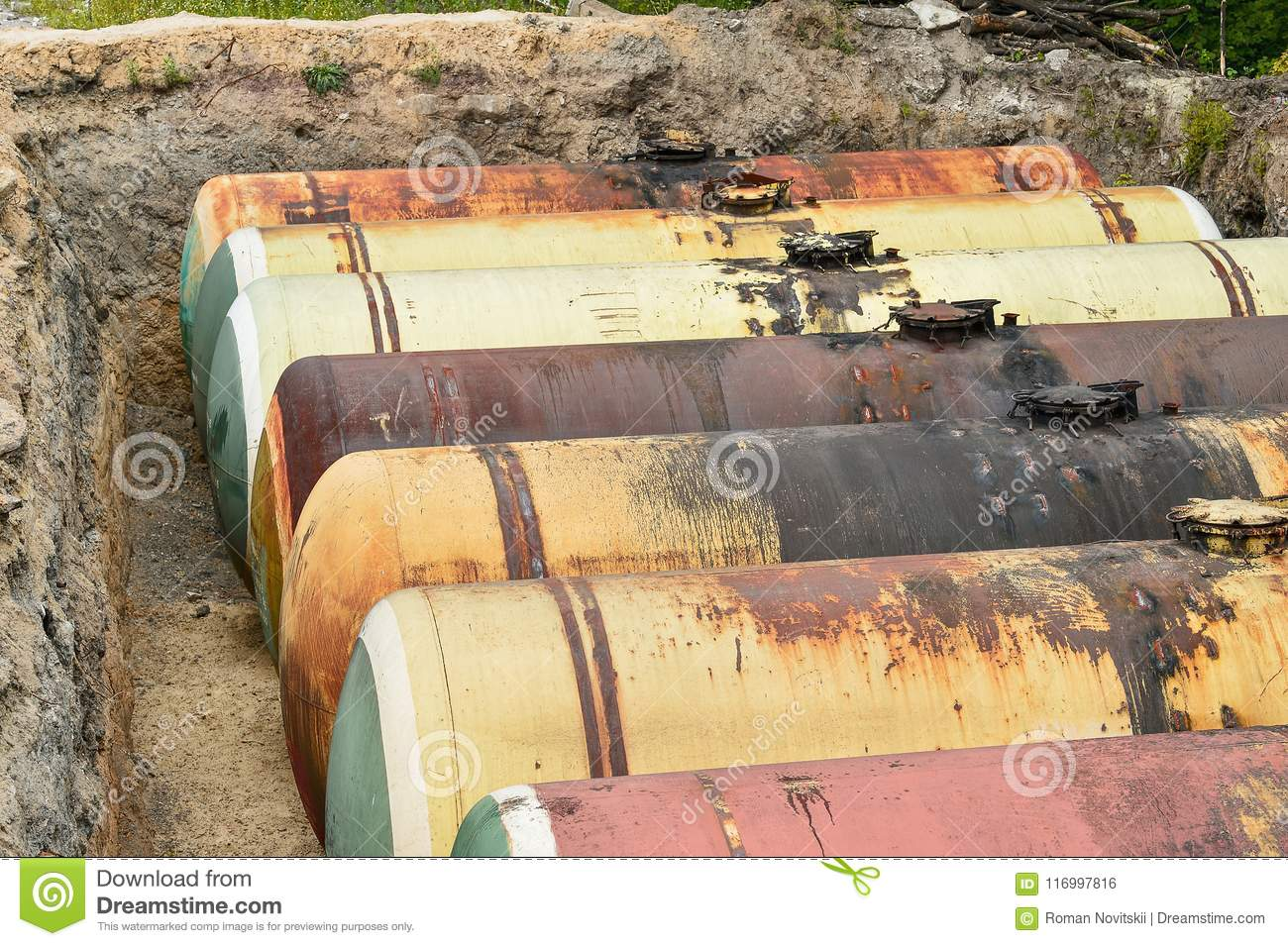 Large Tank For Gasoline In The Excavated Quarry For Storage Of