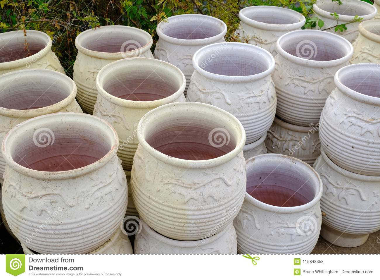 Download Large Terracotta Garden Pots Or Urns Stock Photo   Image Of  Ceramic, Urns: