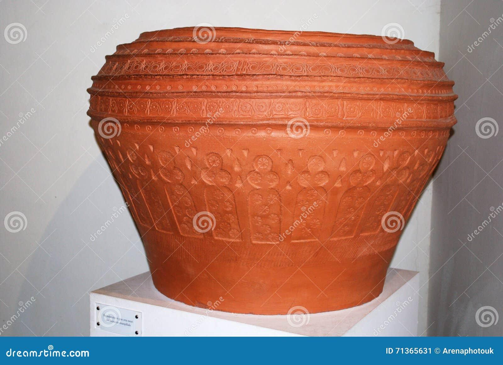 large terracotta pot, malaga castle museum. stock photo - image