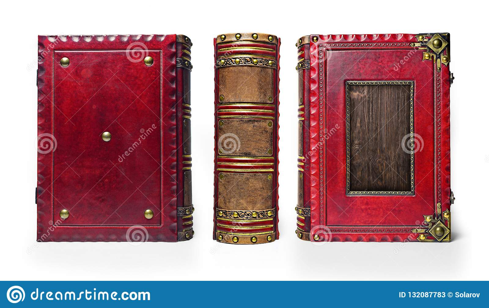 Large and thick aged red leather book with wooden plate