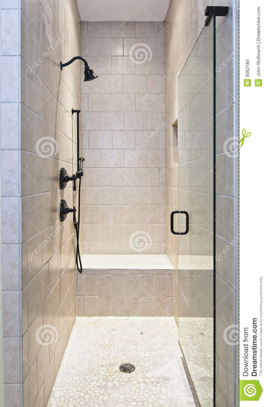 Large tile luxury shower stock photo. Image of expensive - 8062180