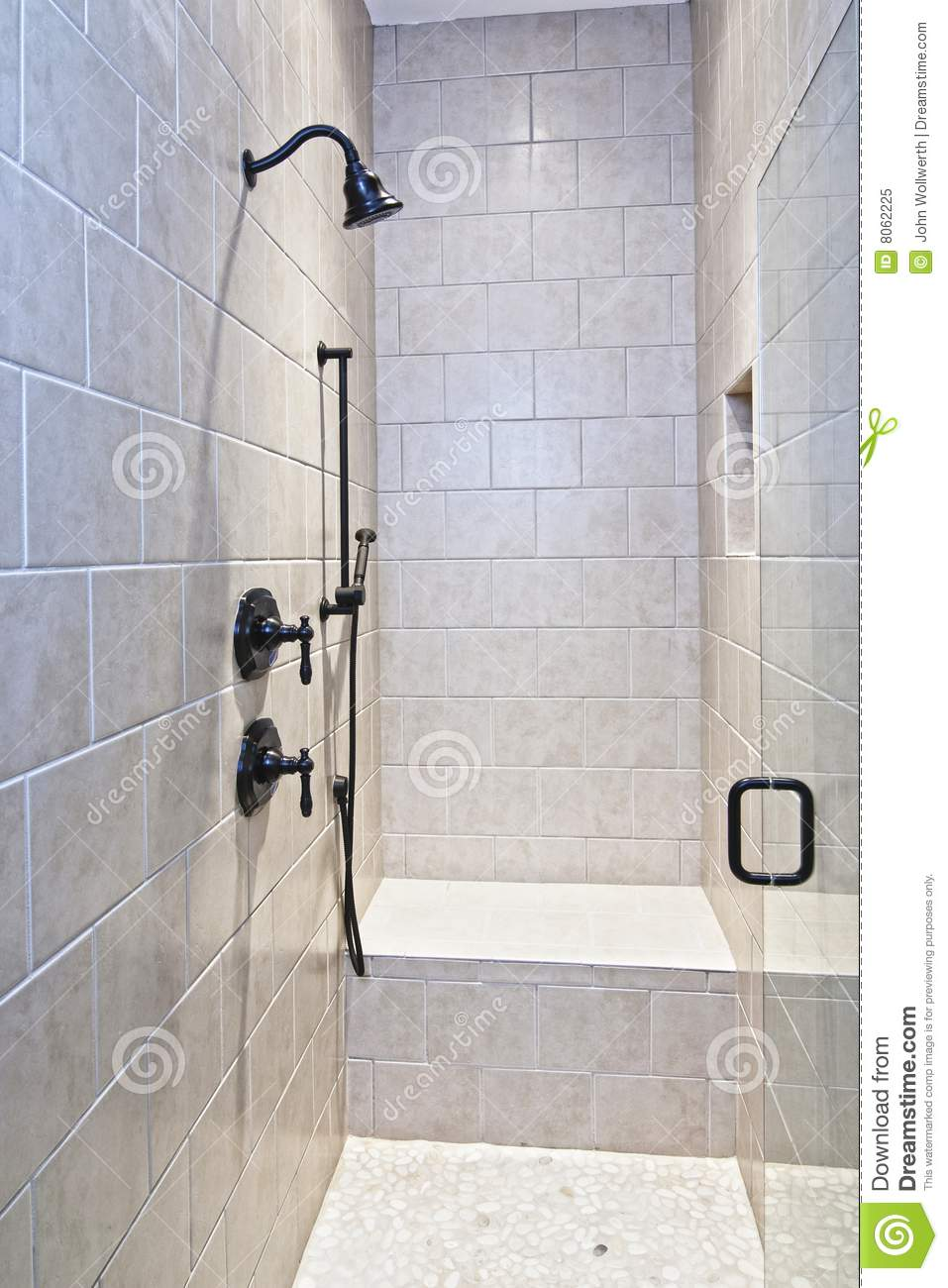 Large Tile And Stone Shower Stock Image Image Of Niche Estate
