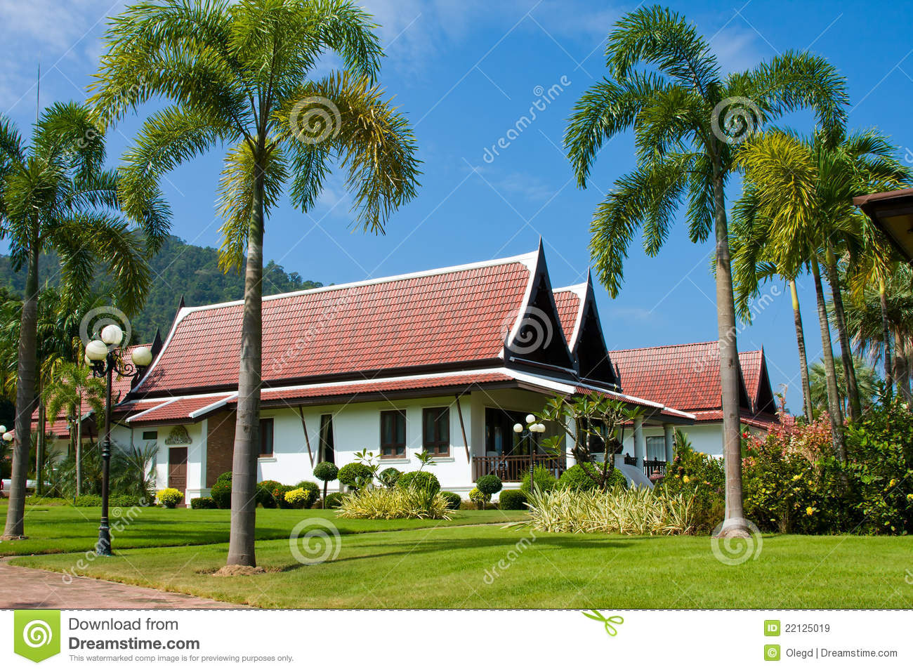 Large tropical beach house in thailand stock image image for Large beach house