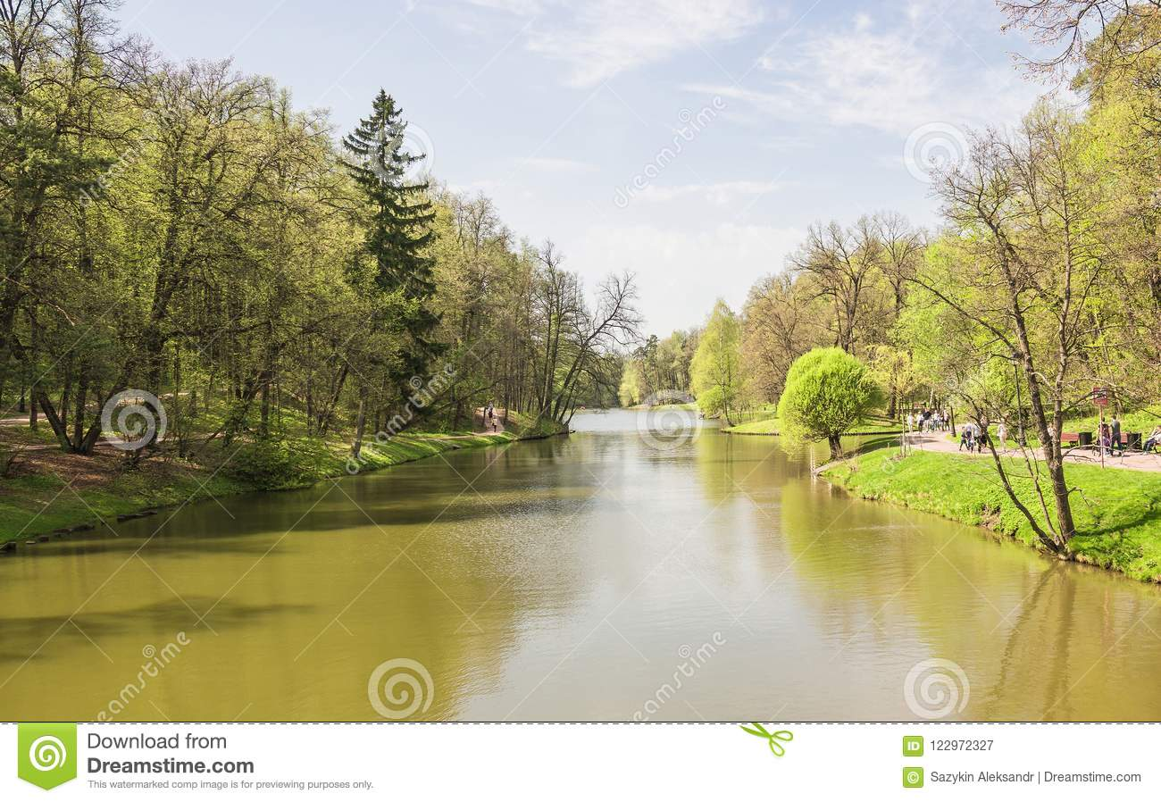 Large Tsaritsyn pond on the estate Tsaritsyno. Southern district. Moscow. Russian Federation.