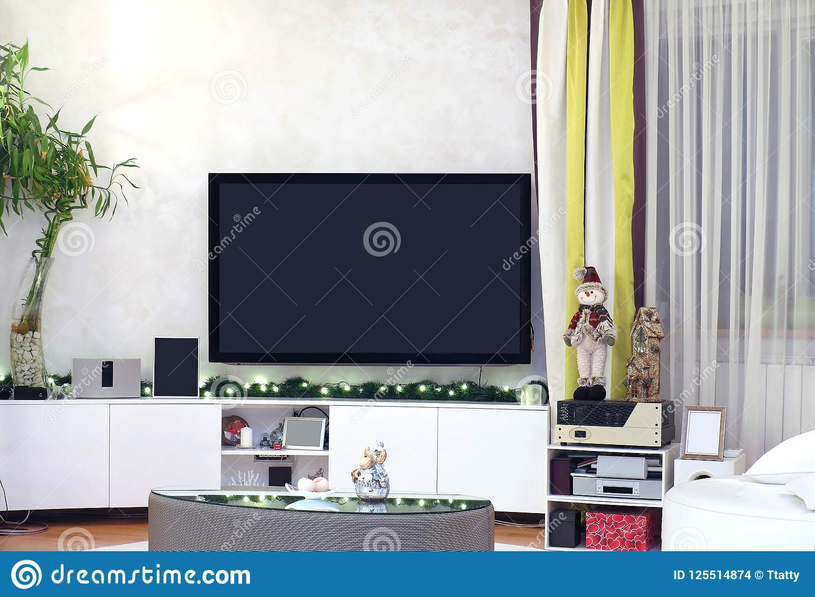 Large TV Room With Christmas Decorations Stock Photo , Image