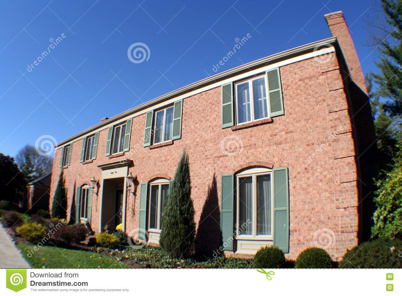 Large Two Story Brick House Stock Photo Image 1726500