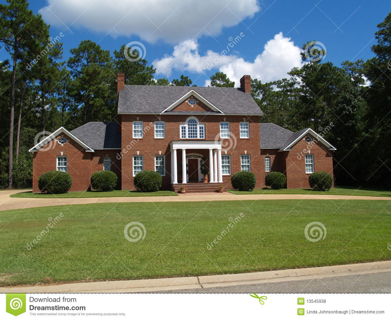 Large Two Story Brick Residential Home Stock Photo Image