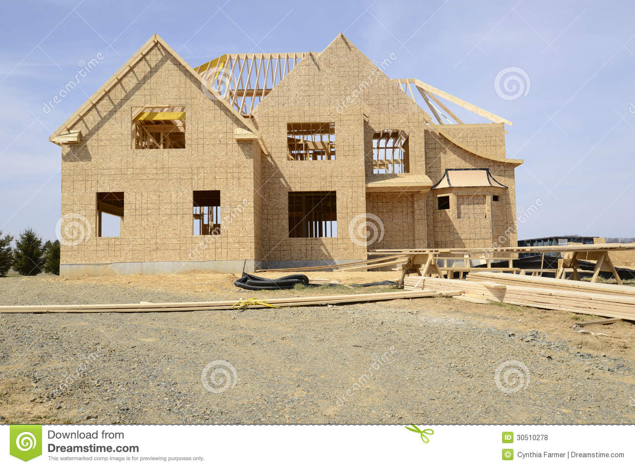 Large Two Story Family Home Under Construction Stock Photo