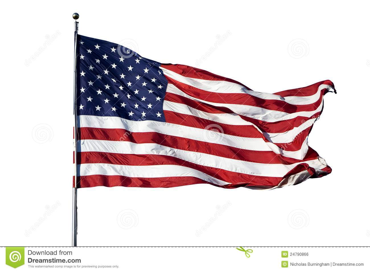 Large U S Flag On White Background Royalty Free Stock