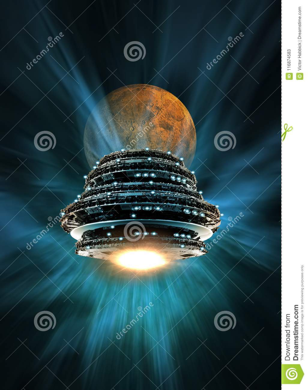 Large UFO and moon