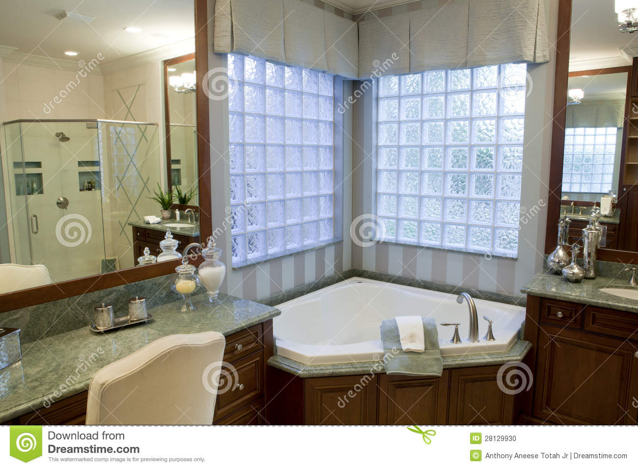 Large Upscale Master Bathroom Stock Photo - Image: 28129930
