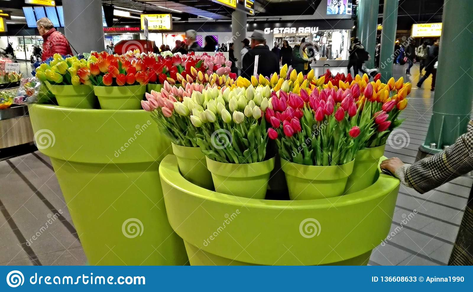 Dreamstime.com & Large Vases Of Fake Flowers Namely Tulips Stock Image ...