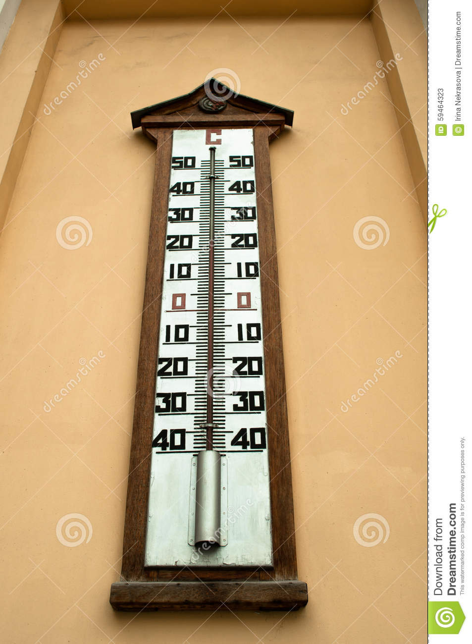 A Large Wall Mounted Mercury Temperature Gauge Stock Image