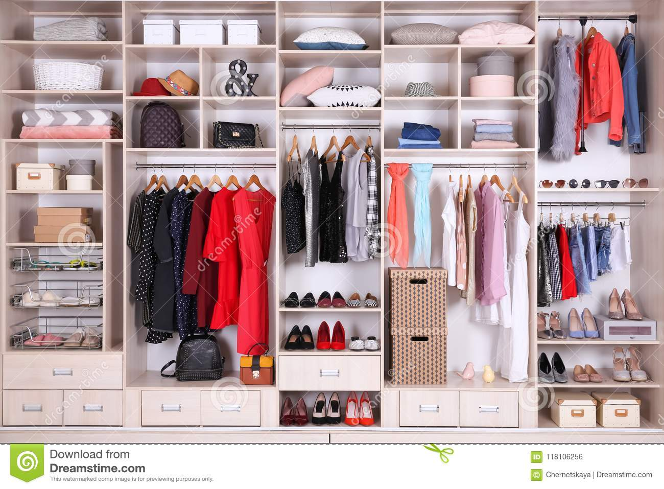 get cheap 9f40f 7e56d Large Wardrobe With Different Clothes, Home Stuff And Shoes ...