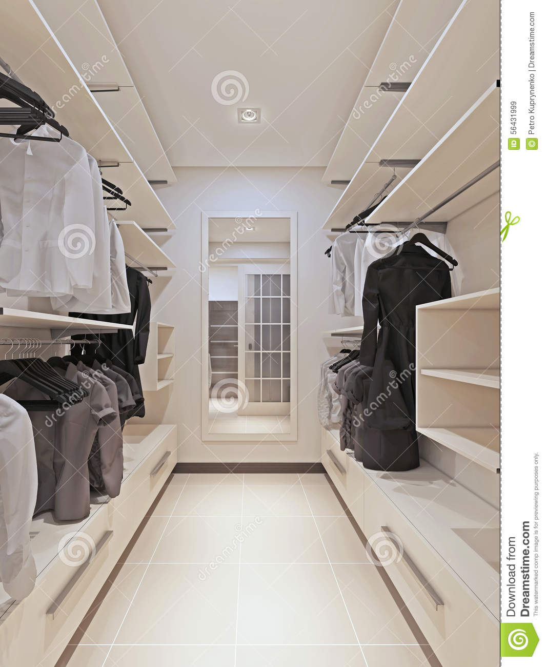 Large Wardrobe In A Modern Style Interior Stock Illustration ...