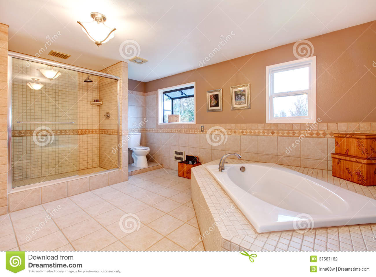 Large warm tones bathroom stock photo image of bathtub for Warm bathroom
