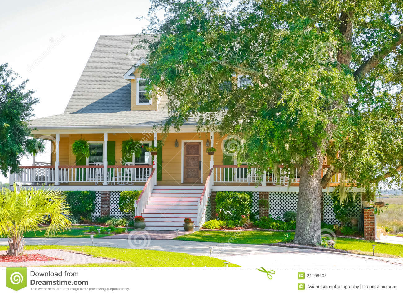Large waterfront home stock photos image 21109603 for Waterfront house plans on pilings