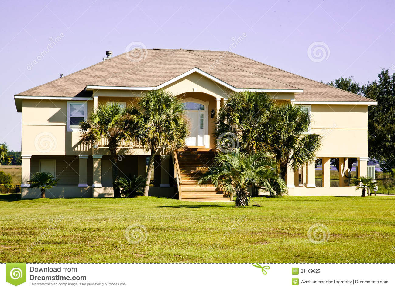 Large waterfront home royalty free stock photo image for Raised waterfront house plans