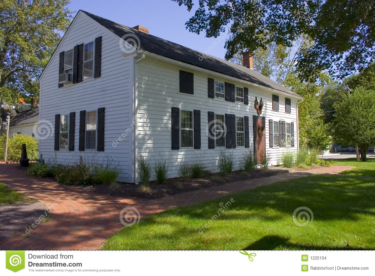 Large white colonial home stock photo image of for New england colonial house