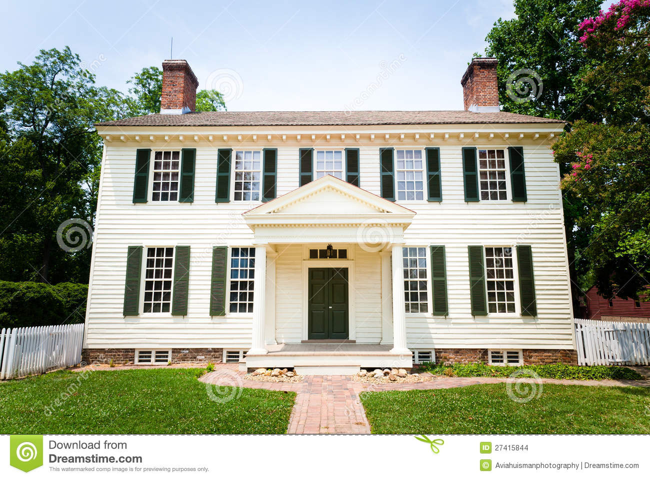 Large white colonial style home stock photo image 27415844 Colonial home builders