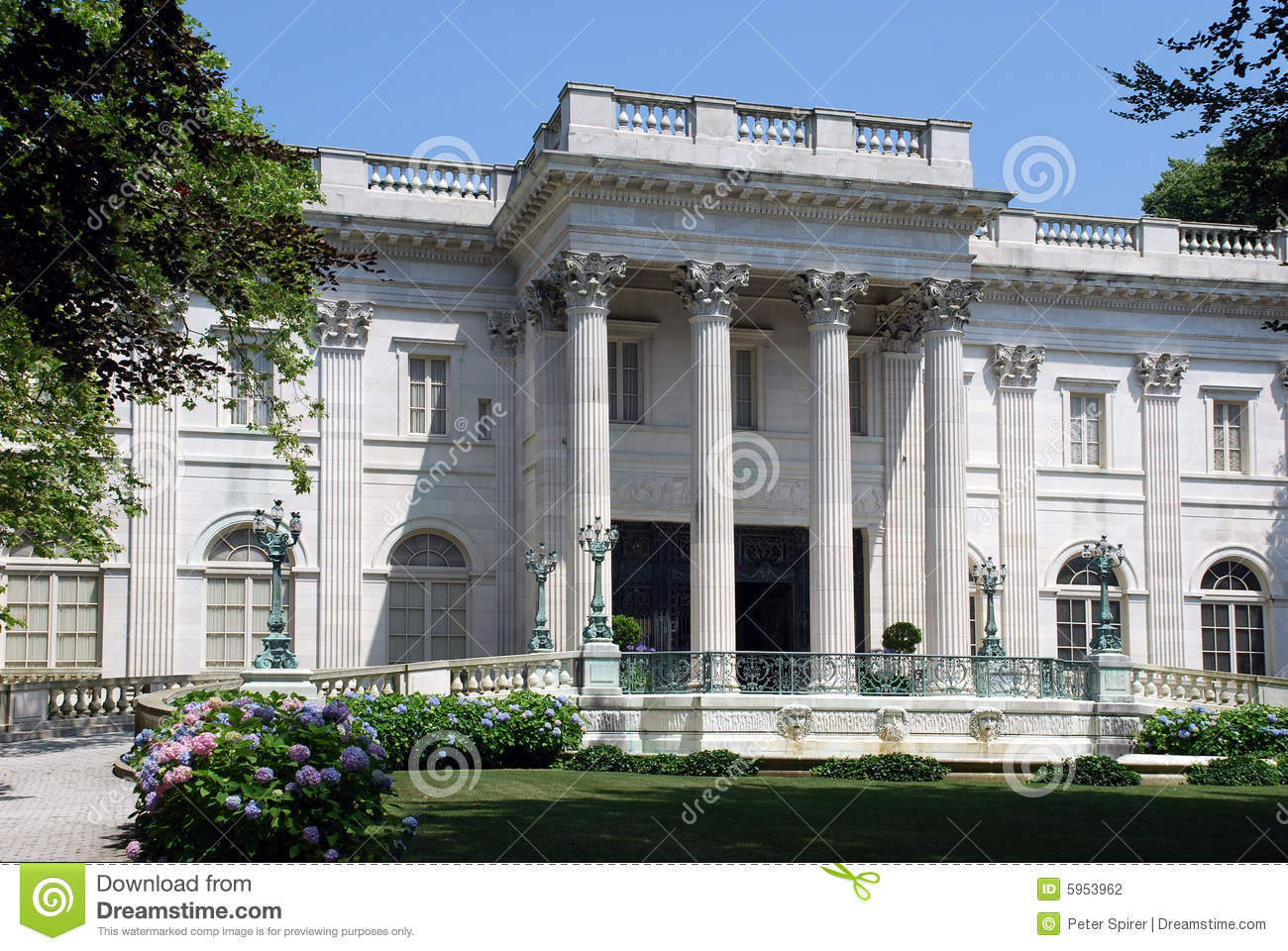 Large White Mansion With Columns Editorial Photography