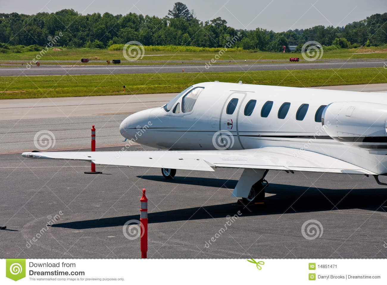 Large White Private Jet on Tarmac