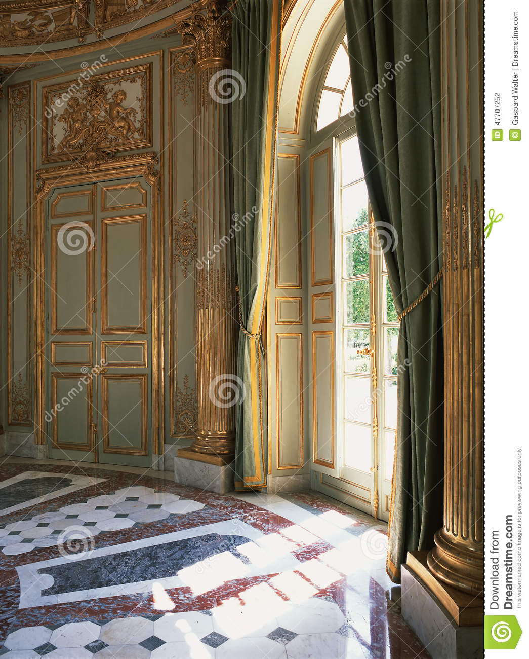 Large Window Curtains And Marble Floor At Versailles