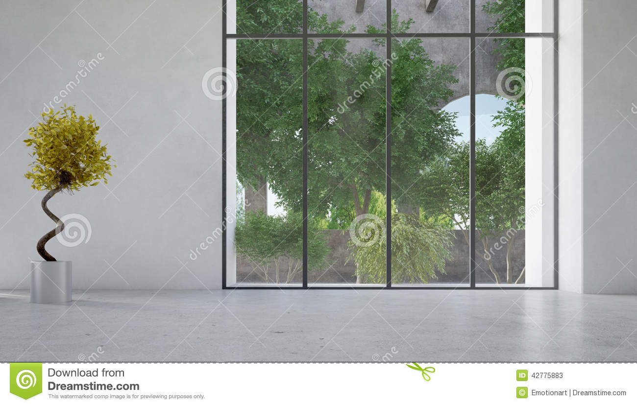 Large Window Overlooking A Courtyard With Plants Stock