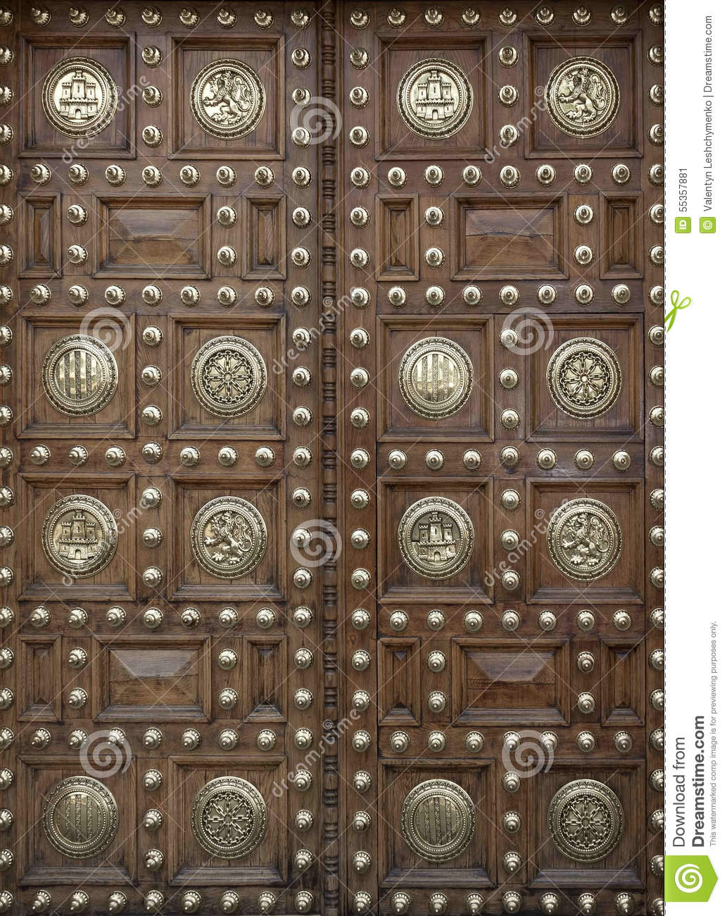 Large Wooden Doors Decorated Stock Image - Image of wood, ornament ...