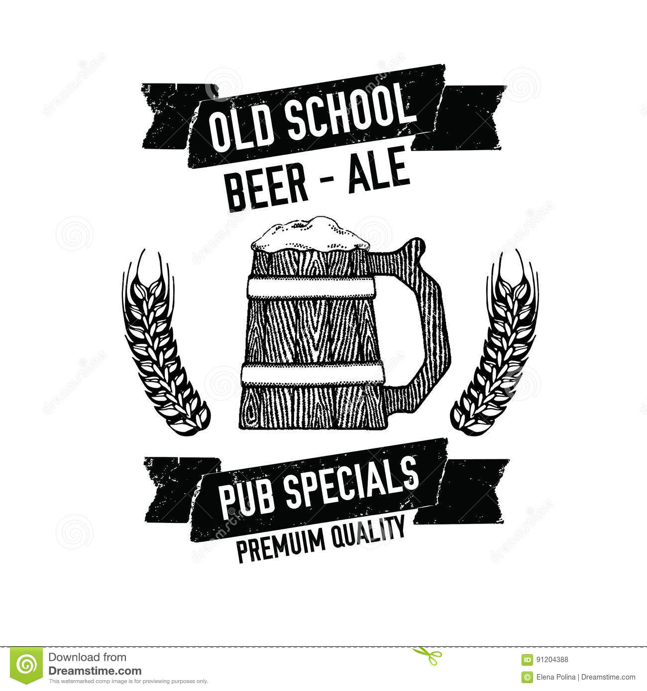 Large Wooden Mug Of Craft Beer Beer Emblem For Pub, Bar, Beer Label