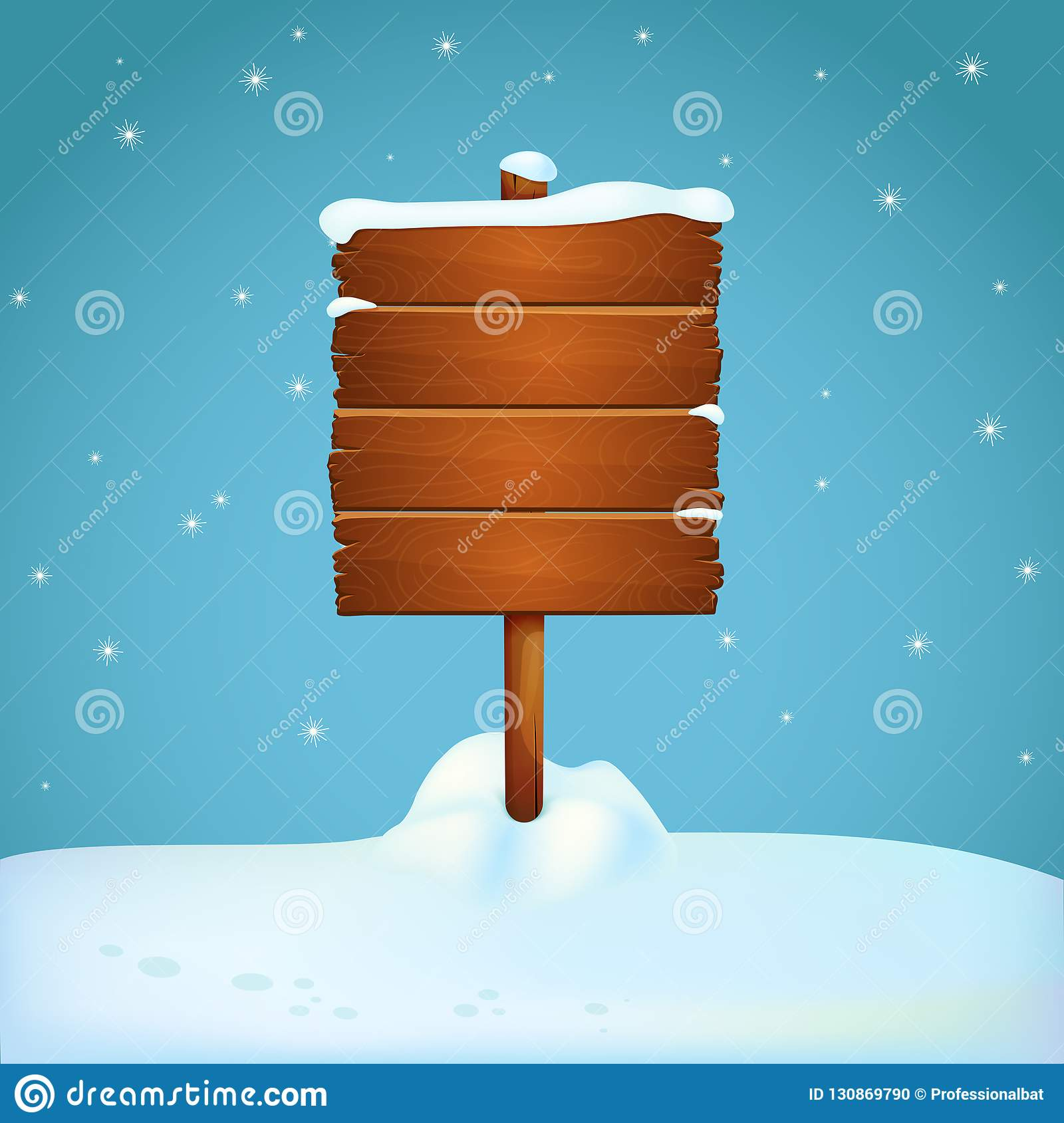Large Wooden Signpost On The Snowy Ground With Falling Snowflakes