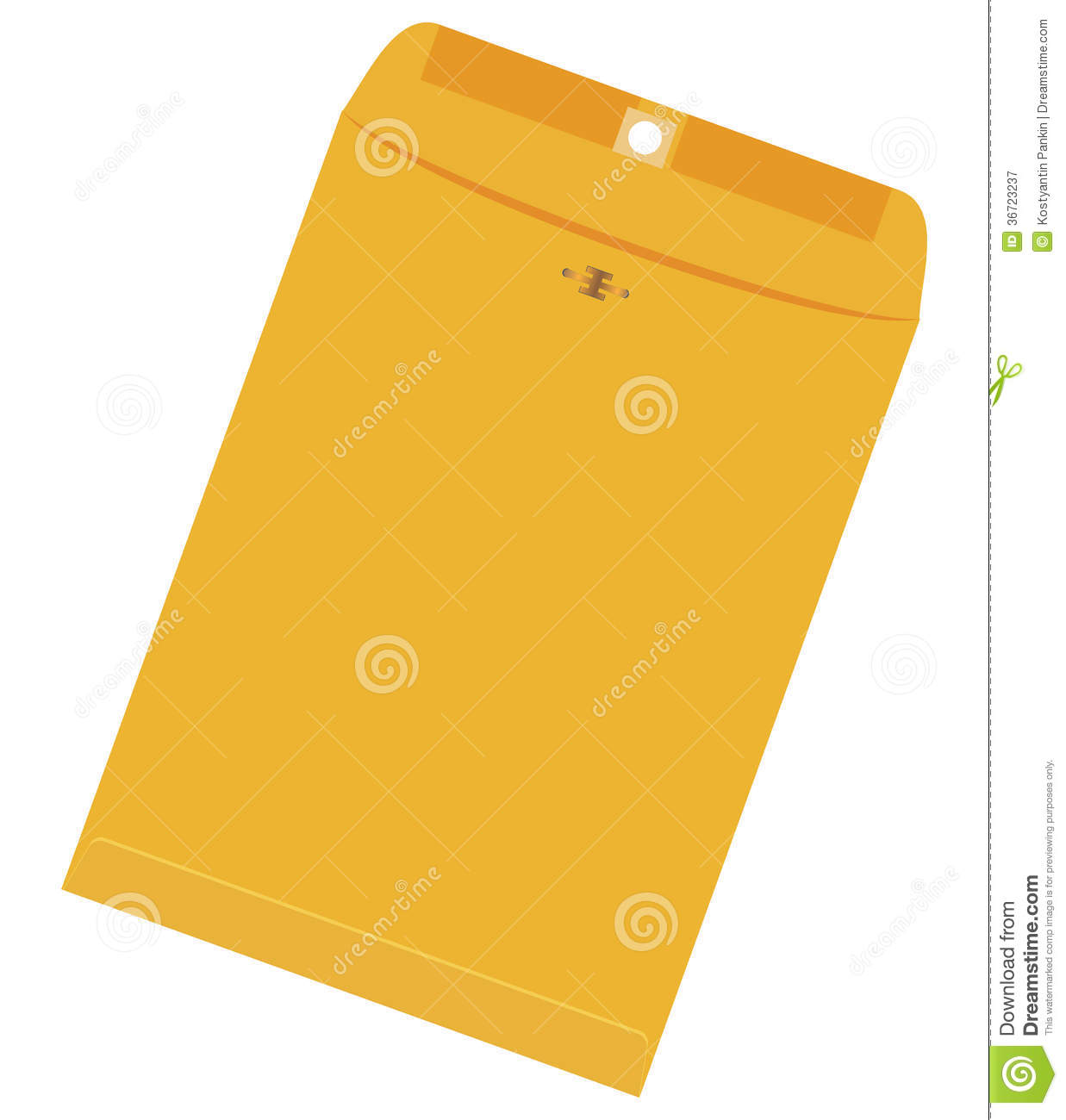 large yellow envelope stock vector image of side