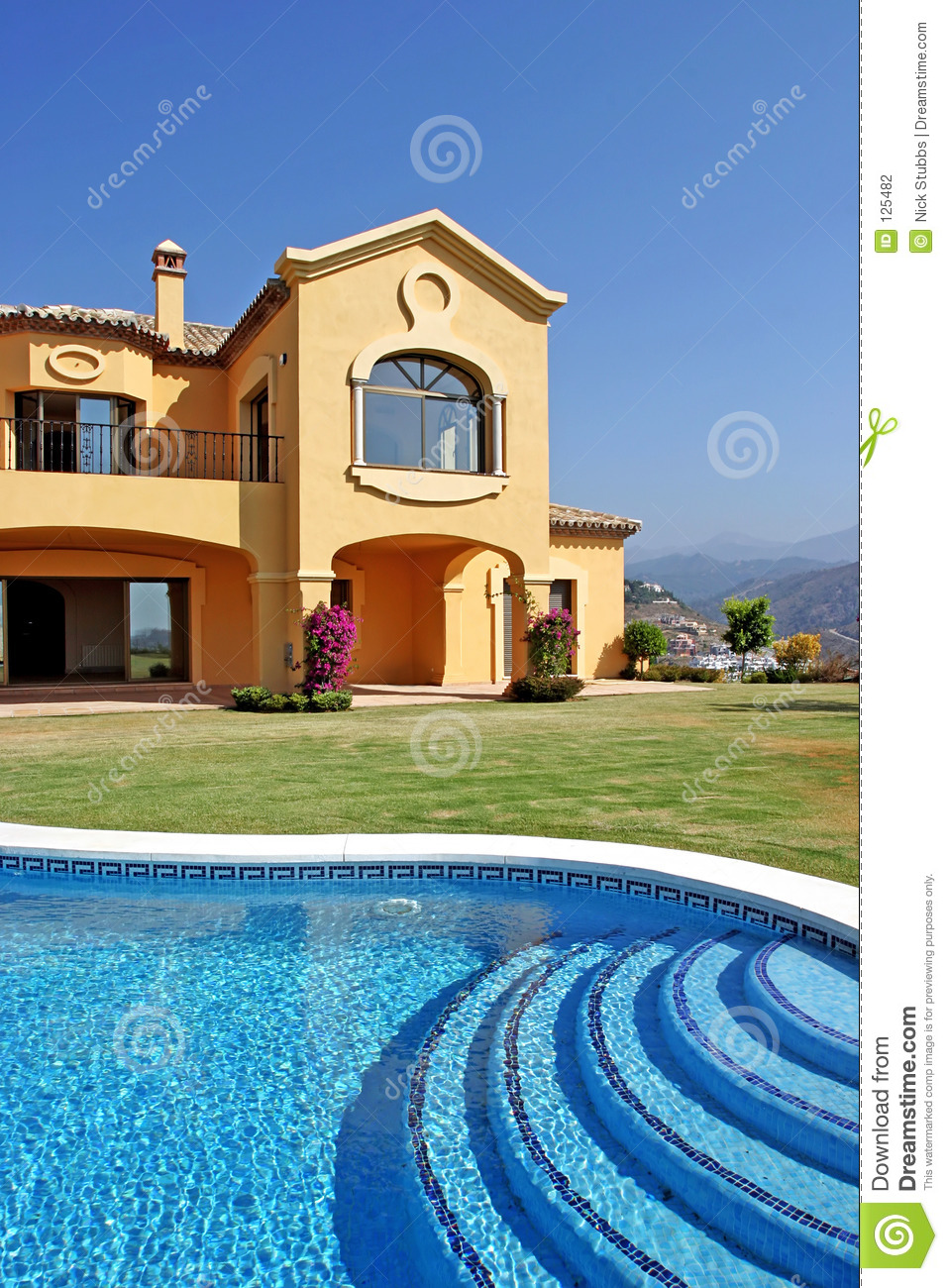 Large yellow sunny spanish villa with pool and blue sky stock photo image 125482 - Pool and blues ...
