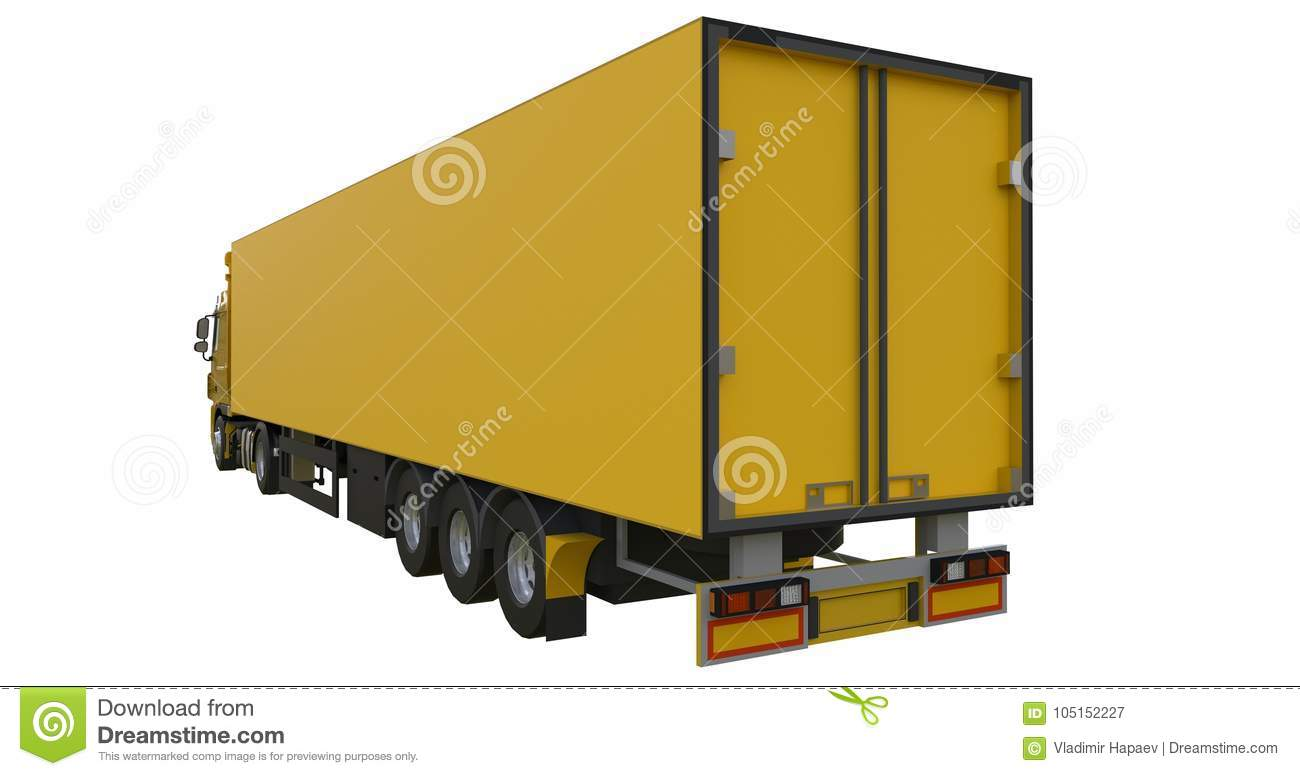 Large Yellow Truck With A Semitrailer  Template For Placing