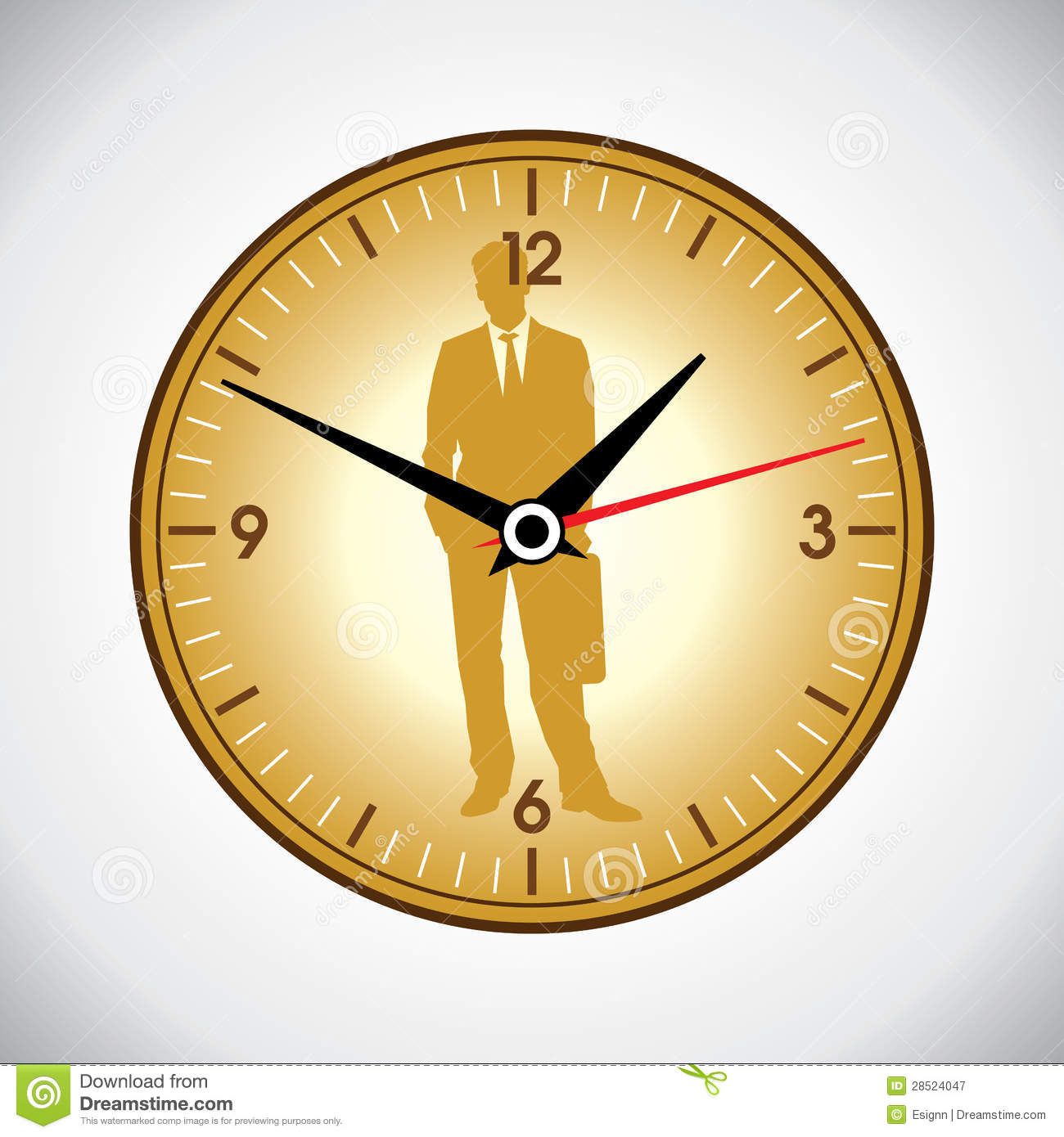 Large yellow wall clock and business man