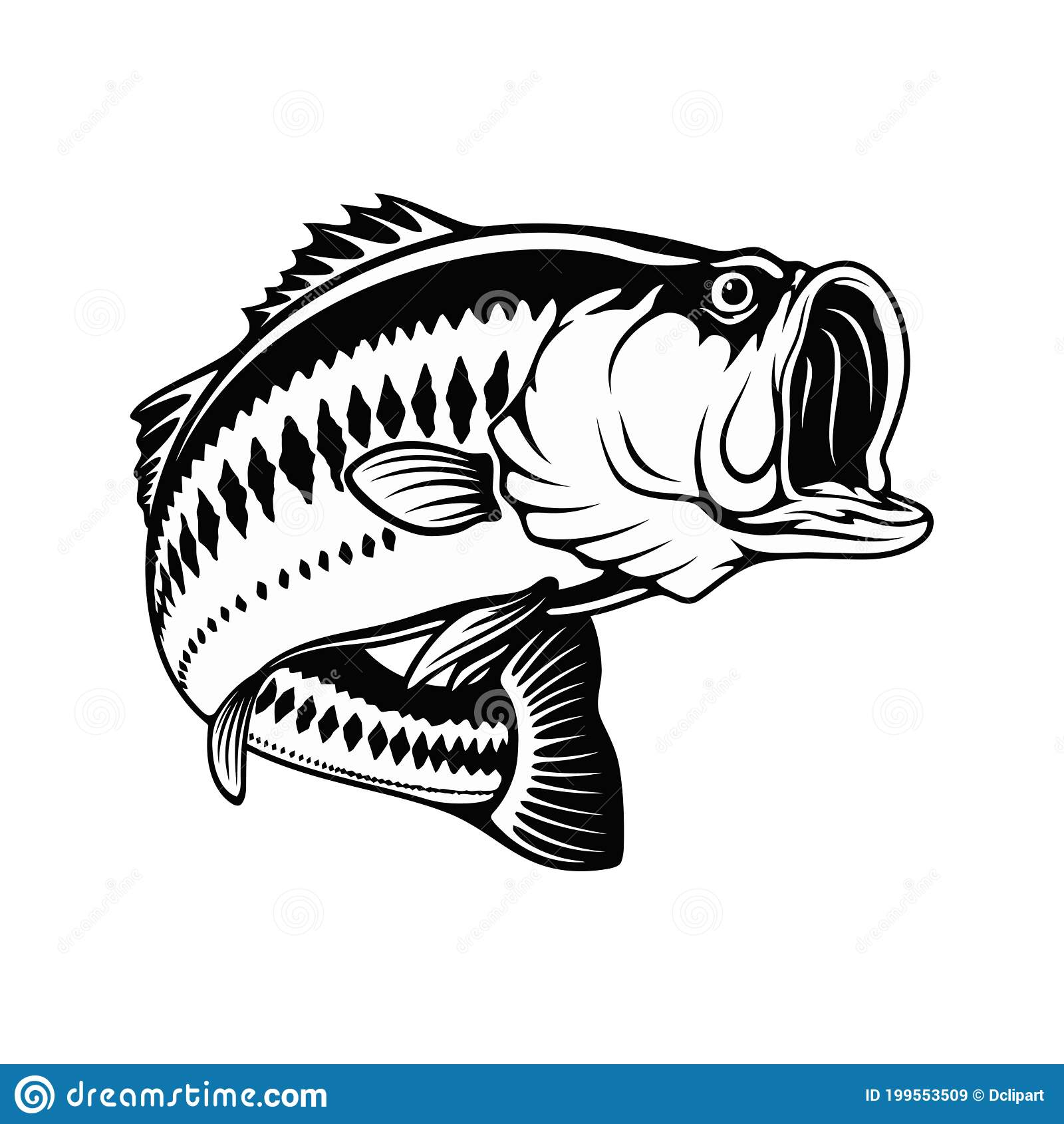Largemouth bass relief print black on white