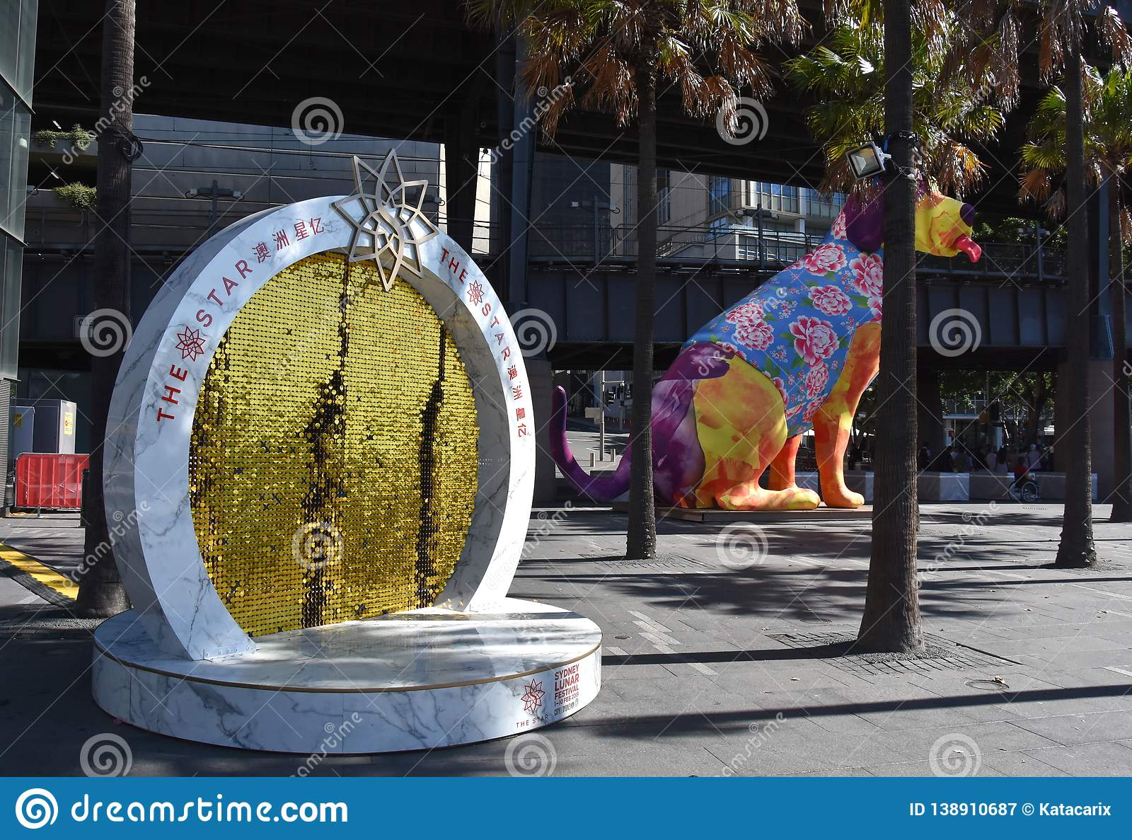 Larger than life lanterns in the shape of Dog. Chinese zodiac animals at Circular Quay