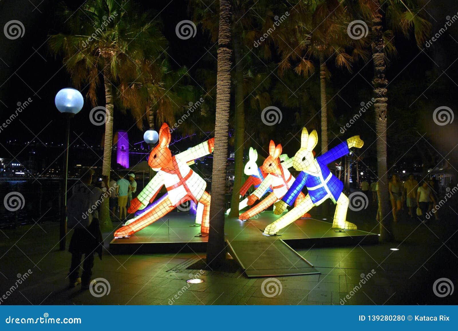 Larger than life lanterns in the shape of Rabbit. Chinese zodiac animals at Circular Quay