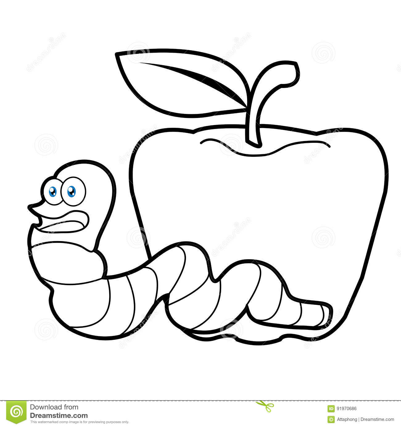 Book worm coloring pages - Larva Worm And Apple Cartoon Coloring Page For Toddle