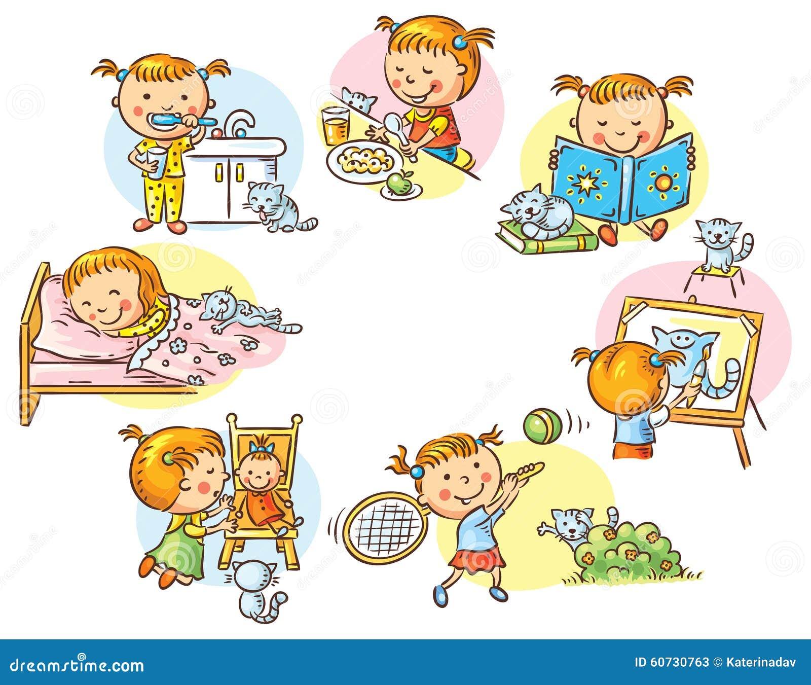 Las actividades diarias de la ni a ilustraci n del vector for Actividades para jardin infantil